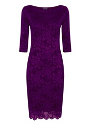 Hotsquash Long Sleeved Lace Dress With Thinheat Purple