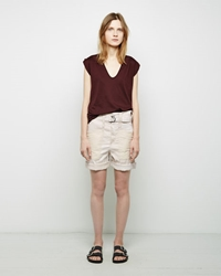 Isabel Marant Verna Patch Linen Shorts Ecru
