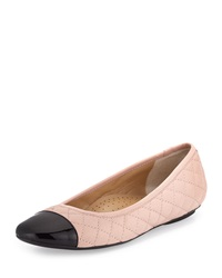 Neiman Marcus Saucy Quilted Leather Flat Blush