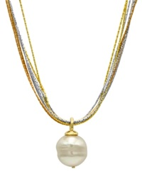 Majorica Sterling Silver And 18K Gold Over Sterling Silver Pendant Organic Man Made Baroque Pearl