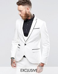 Noose And Monkey Super Skinny Suit Jacket With Contrast Piping Stretch White