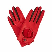 Gizelle Renee Bega Red Leather Driving Gloves Black Red
