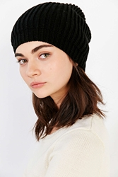 Urban Outfitters Ribbed Slouch Pom Beanie Black