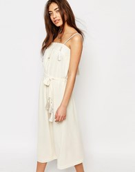 Sessun Midi Dress With Tassel Details In White Fleur De Sel Cream