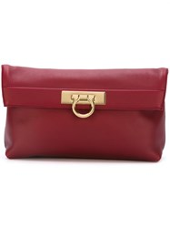 Salvatore Ferragamo Gancio Detail Clutch Red