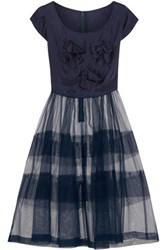 Comme Des Garcons Girl Bow Embellished Taffeta And Tulle Dress Navy