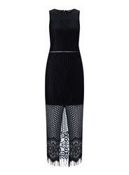 Miss Selfridge Lace With Mesh Insert Maxi Black
