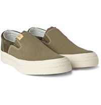 Visvim Skagway Suede And Canvas Slip On Sneakers