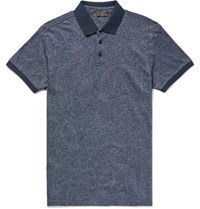 Etro Lim Fit Pailey Print Cotton Pique Polo Hirt Navy