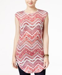 Almost Famous Juniors' Printed High Low Tunic Burgundy Combo