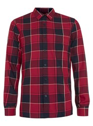 Topman Red And Black Check Long Sleeve Casual Shirt