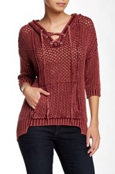 Democracy Tie Front Open Weave Pullover Sweater Brown