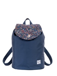 Herschel Liberty Ware Leather And Nylon Backpack Navy