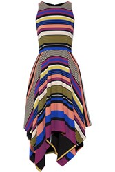 Badgley Mischka Striped Crepe Midi Dress Purple