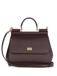 Dolce And Gabbana Sicily Small Leather Tote Burgundy