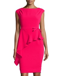 Teri Jon Sleeveless Ruffled Crepe Dress W Bow Red