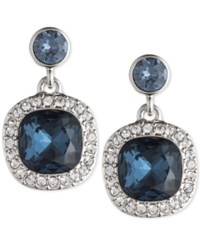 Givenchy Silver Tone Dark Blue Crystal And Pave Drop Earrings