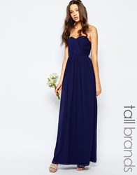Tfnc Tall Wedding Bandeau Chiffon Maxi Dress Navy