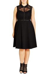 City Chic Plus Size Women's 'Office Romance' Fit And Flare Shirtdress