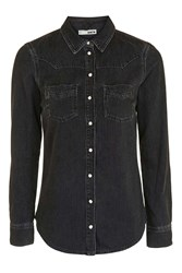 Topshop Moto Fitted Western Shirt Black