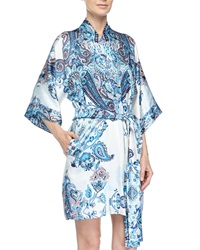 Christine Printed Silk Short Robe Blue