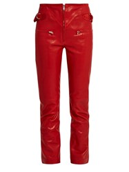 Isabel Marant Florrie Slim Leg Leather Trousers Red