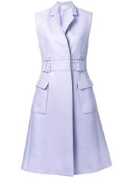 Carven Sleeveless Double Belted Coat Pink Purple