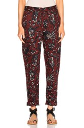 Etoile Isabel Marant Janelle Printed Cotton Pants In Red Floral Red Floral