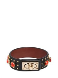 Givenchy Leather Bracelet With Rhinestones