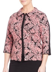 Stizzoli Plus Size Digital Floral Zip Front Jacket Pink Multi