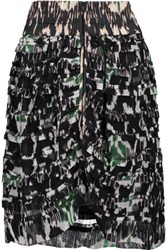 Isabel Marant Piero Tiered Printed Silk Georgette Mini Skirt Black