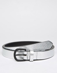 Asos Smart Skinny Belt In Metallic Silver