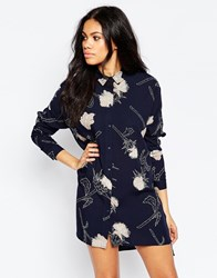 Pieces Thistle Print Shirt Dress In Navy Black