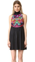 Mara Hoffman Embroidered High Neck Dress Black Multi