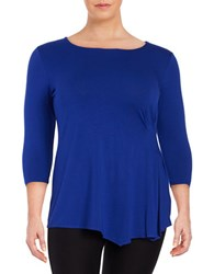 Vince Camuto Plus Side Ruched Top Blue