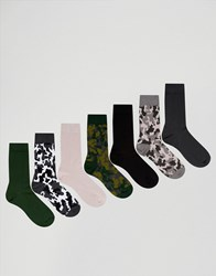 Asos Socks With Camo Design 7 Pack Multi