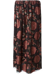 Lanvin Floral Print Maxi Skirt Pink And Purple