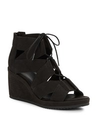 Eileen Fisher Dibs Leather Wedge Sandals Black