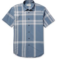 Burberry London Slim Fit Checked Cotton Seersucker Shirt Blue