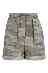 Topshop Camo Casual Tie Shorts Green