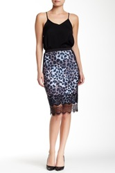 Hale Bob Printed Lace Trim Skirt Black