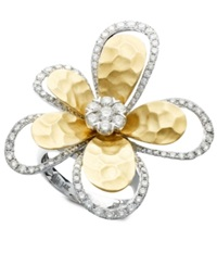 Effy Collection D'oro By Effy Diamond Flower 1 1 4 Ct. T.W. In Two Tone 14K Gold