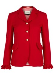 Gucci Red Ruffled Wool And Silk Blend Blazer