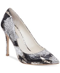 Bcbgeneration Treasure Pumps Women's Shoes Black White Snake With Gold Accent