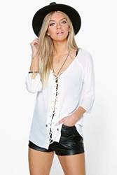 Boohoo Lace Up Crinkle Blouse White