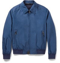 Brioni Silk And Wool Blend Bomber Jacket Blue