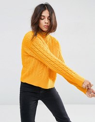 Asos Jumper With Cable Stitch And High Neck Marigold Yellow