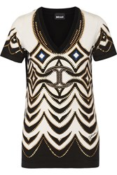 Just Cavalli Studded Printed Stretch Cotton T Shirt White