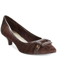 Anne Klein Melanie Pointy Toe Kitten Pumps Brown