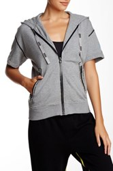Marc By Marc Jacobs Short Sleeve Zip Up Hoodie Gray